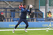AFC Wimbledon goalkeeper Nathan Trott (1) warming up during the The FA Cup match between AFC Wimbledon and Doncaster Rovers at the Cherry Red Records Stadium, Kingston, England on 9 November 2019.