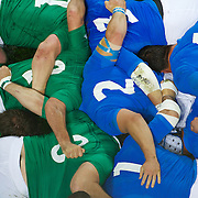 The Irish and Italian players bind in the scrum during the Ireland V Italy Pool C match during the IRB Rugby World Cup tournament. Otago Stadium, Dunedin, New Zealand, 2nd October 2011. Photo Tim Clayton...