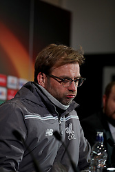 MANCHESTER, ENGLAND - Wednesday, March 16, 2016: Liverpool's manager Jürgen Klopp during a press conference at Old Trafford ahead of the UEFA Europa League Round of 16 2nd Leg match against Manchester United. (Pic by David Rawcliffe/Propaganda)