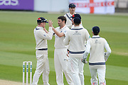 Middlesex congratulate Tim Murtagh on the wicket of Michael Carberry of Hampshire who was on 98 during the Specsavers County Champ Div 1 match between Hampshire County Cricket Club and Middlesex County Cricket Club at the Ageas Bowl, Southampton, United Kingdom on 16 April 2017. Photo by David Vokes.