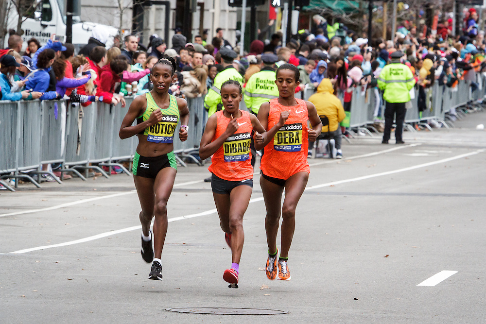 Boston Marathon: Rotich, Dibaba and Deba battles for win with half mile to go