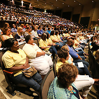 Teachers, staff and administrators fill the Performing Arts Center at Tupelo High School for the district's back to school convocation Friday morning. Tupelo Public Schools welcome students back on Wednesday August 8.
