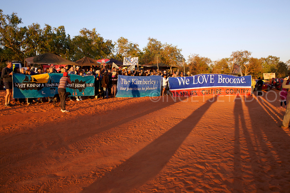 Group of protesters celebrating the 100th day of the No Gas Protest at the Manari Road Community Camp in Broome, WA