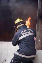 Fire safety demonstration by Firemen at Lark in the Park; West Bridgford;  Nottingham; 2005,,