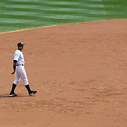Alex Rodriguez fielding at third base during the New York Yankees V Detroit Tigers Major League Baseball regular season baseball game at Yankee Stadium, The Bronx, New York. 11th August 2013. Photo Tim Clayton