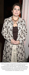 Editor of Vogue ALEXANDRA SHULMAN, at a party in London on 29th January 2002.	OWZ 46