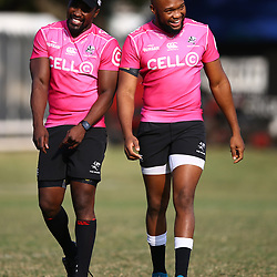 Lwazi Mvovo of the Cell C Sharks with Lukhanyo Am of the Cell C Sharks during the cell c sharks training session at  Jonsson Kings Park Stadium ,Durban.South Africa. 28,06,2018 Photo by Steve Haag)