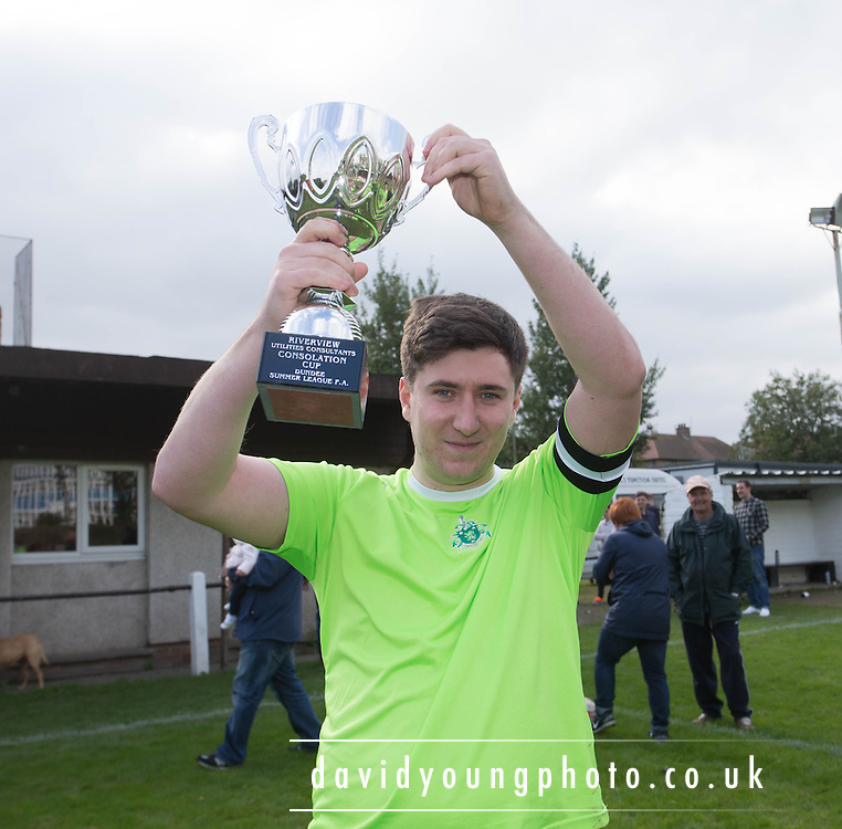 Hibs captain Matthew Clark with the Riverview Utilities Consulting Consolation Cup - Dundee Hibs (green) v Docs AFC (red)  - Riverview Utilities Consulting Consolation Cup final - Dundee Summer League FA<br /> <br /> <br />  - &copy; David Young - www.davidyoungphoto.co.uk - email: davidyoungphoto@gmail.com