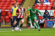 Sheffield United defender Enda Stevens (3) and Preston North End defender Darnell Fisher (14) during the EFL Sky Bet Championship match between Sheffield United and Preston North End at Bramall Lane, Sheffield, England on 28 April 2018. Picture by Ian Lyall.