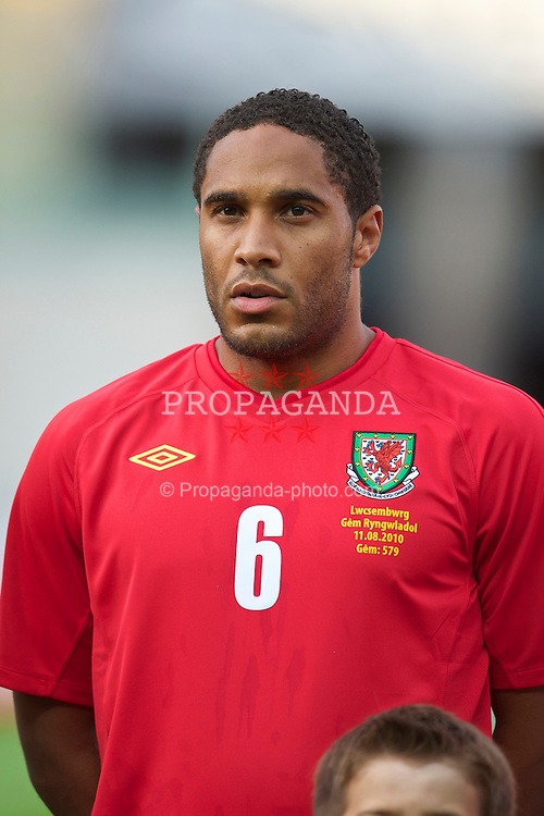 LLANELLI, WALES - Wednesday, August 11, 2010: Wales' Ashley Williams lines-up before an international friendly match against Luxembourg at Parc y Scarlets. (Pic by David Rawcliffe/Propaganda)