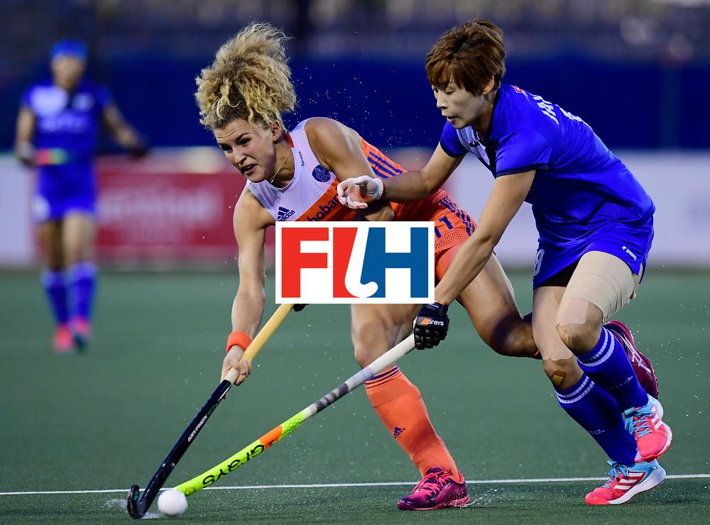 AUCKLAND - Sentinel Hockey World League final women<br /> Match id:<br /> 18 NED v KOR (Semi Final)<br /> Foto: Maria Verschoor in dual with Heesun Jang <br /> WORLDSPORTPICS COPYRIGHT FRANK UIJLENBROEK