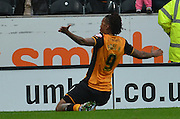 Hull City striker Abel Hernandez celebrates  scoring for Hull City to go 2-0 upduring the Sky Bet Championship match between Hull City and Birmingham City at the KC Stadium, Kingston upon Hull, England on 24 October 2015. Photo by Ian Lyall.