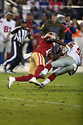 New York Giants middle linebacker B.J. Goodson (93) is tackled by San Francisco 49ers wide receiver Marquise Goodwin (11) after intercepting a fourth quarter pass at the Giants 46 yard line during the NFL week 10 regular season football game against the San Francisco 49ers on Monday, Nov. 12, 2018 in Santa Clara, Calif. The Giants won the game 27-23. (©Paul Anthony Spinelli)