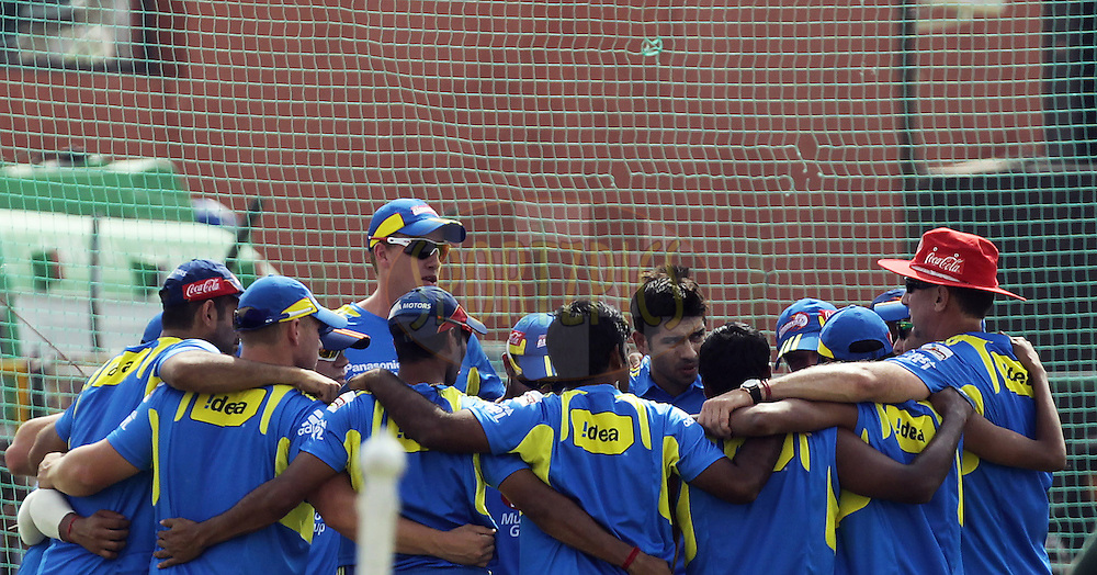 Delhi Daredevils team huddle up before the match 7 of the the Indian Premier League ( IPL ) Season 4 between the Rajasthan Royals and the Delhi Daredevils held at the Sawai Mansingh Stadium, Jaipur, Rajasthan, India on the 12th April 2011..Photo by BCCI/SPORTZPICS