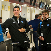 St Johnstone v Eskisehirspor....18.07.12  Uefa Cup Qualifyer<br /> Gary Miller and Chris Millar at the check-in desk at Edinburgh Airport<br /> Picture by Graeme Hart.<br /> Copyright Perthshire Picture Agency<br /> Tel: 01738 623350  Mobile: 07990 594431