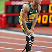 Disabled athlete Oscar Pistorius, South Africa, competing in the Men's 400m semi Finals at the Olympic Stadium, Olympic Park, Stratford at the London 2012 Olympic games. London, UK. 5th August 2012. Photo Tim Clayton