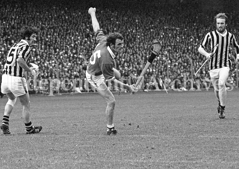 974-24<br /> F. Nolan, Limerick, in action and P. Lawlor, Kilkenny, during the All-Ireland Hurling Final. 1/9/74<br /> Pic: Donal Doherty.<br />  (Part of the Independent Newspapers Ireland/NLI collection.)