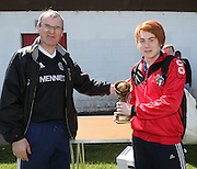 Thomson Academicals' John McAuley receives the Dundee Saturday Morning Football League 1st Division Player of the Year from League secretary Steve McSwiggan - Dundee Saturday Morning Football League at Drumgieth<br /> <br />  - © David Young - www.davidyoungphoto.co.uk - email: davidyoungphoto@gmail.com