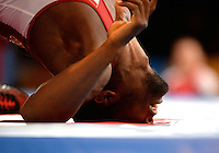 July 31, 2014: Jevon Balfour of Canada and Terry van Rensburg of South Africa compete in the semi-final of the 65kg Men's wrestling competition at the Scottish Exhibition Conference Centre, Glasgow during the XX Commonwealth Games in Scotland.