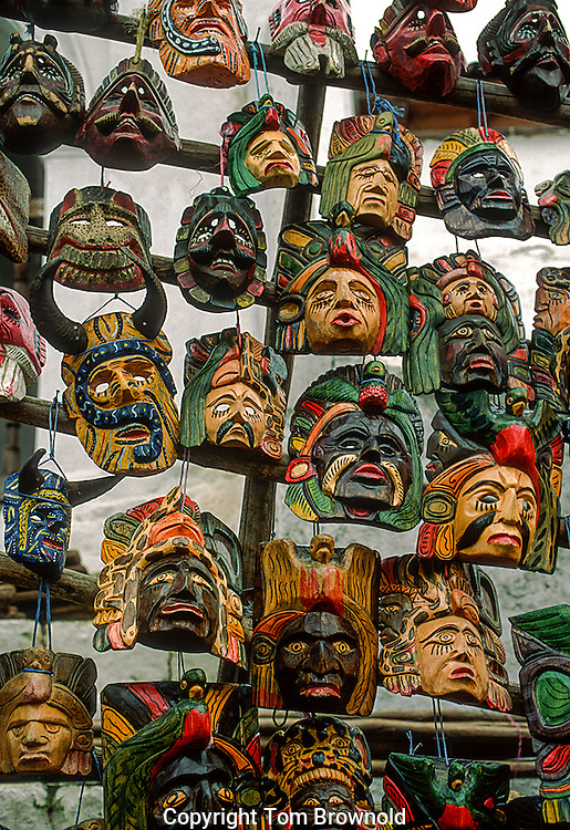 On display for sale. Guatemalan festival masks.