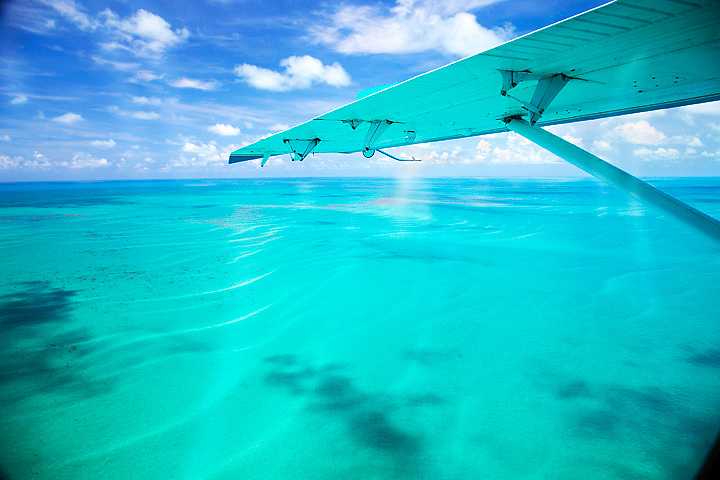 The view from the seaplane en route to Dry Tortugas National Park, nearly 70 miles of Key West.