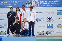 RIO DE JANEIRO, Sept. 29, 2018  Marcin Pochwala (above 2nd R) and Aleksandra Stach (above 2nd L) of Poland, Yves Prigent (below L) and Margaux Henry (above 1st L) of France, Veronika Vojtova (below R) and Jan Masek of the Czech Republic pose for photograph during the awarding ceremony of the canoe double (c2) mixed final during the 2018 ICF Canoe Slalom world championships in Rio de Janeiro, Brazil, on September 29, 2018. Marcin Pochwala and Aleksandra Stach won the gold with 106.48 seconds. Yves Prigent and Margaux Henry, Veronika Vojtova and Jan Masek of the Czech Republic won the silver and the bronze with 106.84 seconds and 110.25 seconds respectively. (Credit Image: © Li Ming/Xinhua via ZUMA Wire)