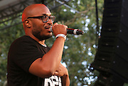 Raydar Ellis speaks during the 75th Anniversary of Blue Note Records concert in association with Revive Music celebrating 15 years of Okayplayer at SummerStage in Rumsey Playfield in New York City, NY on August 3, 2014.
