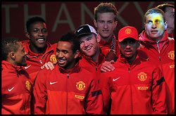 Wayne Ronney joins other Manchester United players in Albert Square, Manchester,  As Manchester United celebrate winning their 20th league title winning the Premier League, Monday May 13, 2013. Photo by: Andrew Parsons / i-Images