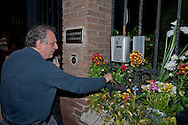 Flowers in front of the Embassy of Belgium, after the attacks in Brussels, in a sign of solidarity of the Left Ecology and Freedom party. Pictured: Paolo Cento, Secretary of Rome of the Left Ecology and Freedom party. Rome, Italy. 22th March 2016