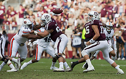Texas A&M quarterback Nick Starkel (17) watches the football after a fumble against Auburn during the third quarter of an NCAA college football game on Saturday, Nov. 4, 2017, in College Station, Texas. (AP Photo/Sam Craft)