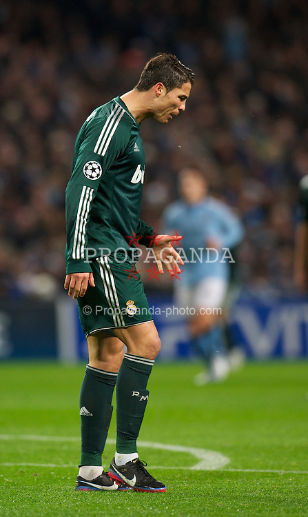 MANCHESTER, ENGLAND - Wednesday, November 21, 2012: Real Madird CF's Cristiano Ronaldo looks dejected after missing a chance during the UEFA Champions League Group D match against Manchester City at the City of Manchester Stadium. (Pic by David Rawcliffe/Propaganda)