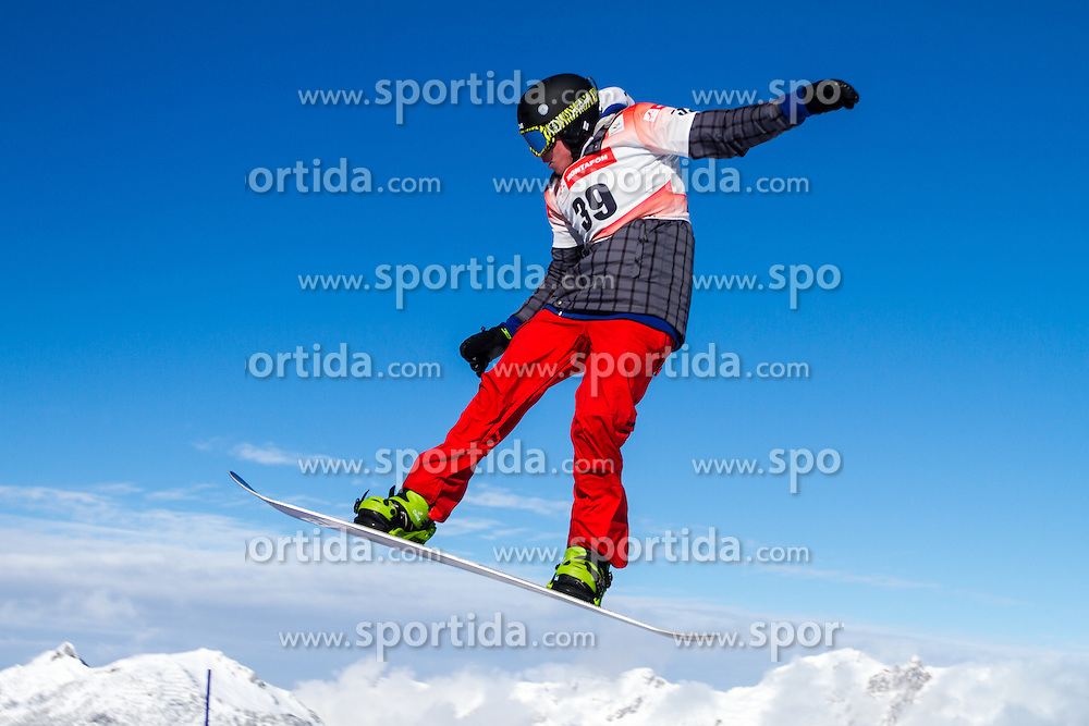 Matic Kvas competing in snowboard cross at 12th European Youth Olympic Winter Festival in Verarlberg and Liehtenstein on January 26, 2015. (Photo by Peter Kastelic / Sportida.com)
