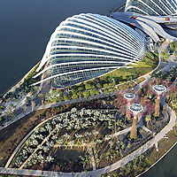 Aerial view of the Cloud Forest and Flower Dome conservatories at Gardens By The Bay in Singapore.