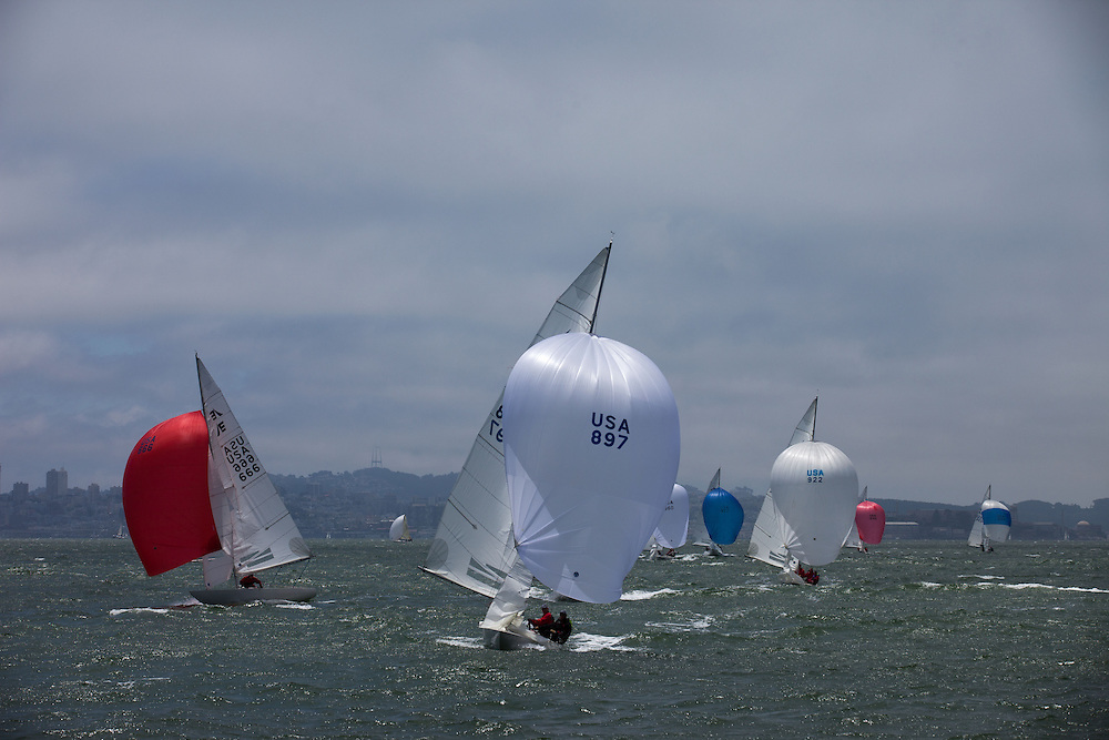 International Etchells Class sailing in the San Francisco Bay.