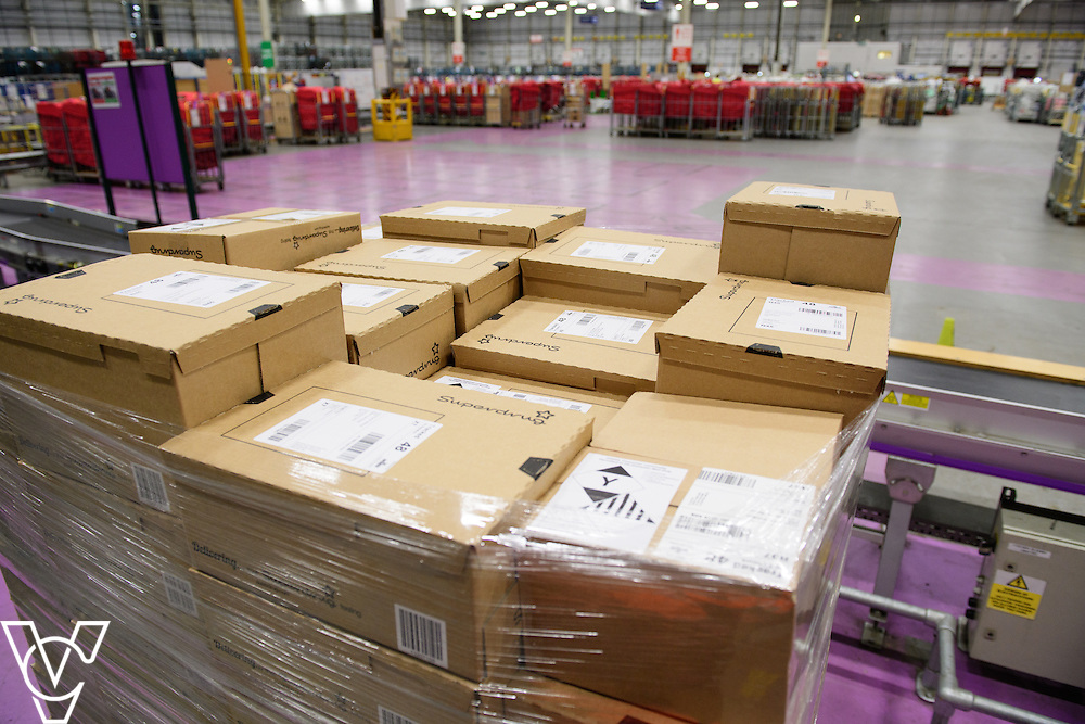 Stock / generic photographs taken at the Royal Mail's Yorkshire Distribution Centre, Normanton.  <br /> <br /> A pallet of parcels<br /> <br /> Picture: Chris Vaughan Photography<br /> Date: November 15, 2016