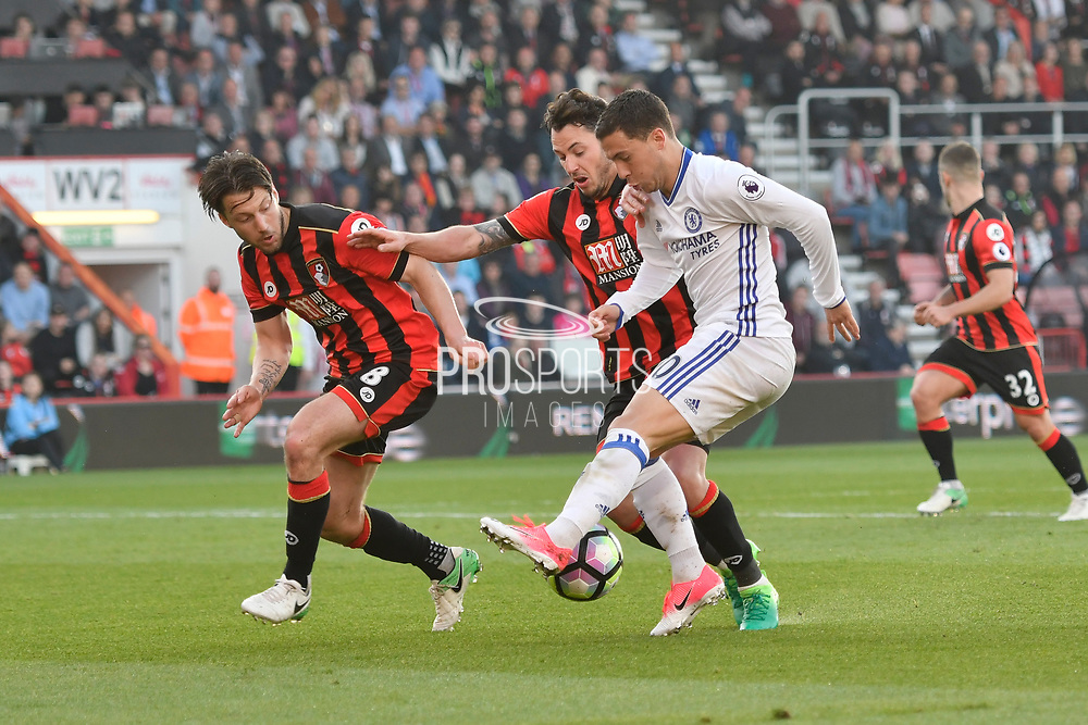 AFC Bournemouth midfielder Harry Arter and AFC Bournemouth defender Adam Smith team up to stop Eden Hazard (10) of Chelsea during the Premier League match between Bournemouth and Chelsea at the Vitality Stadium, Bournemouth, England on 8 April 2017. Photo by Graham Hunt.