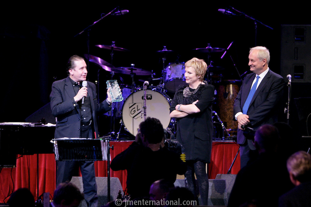 Jools Holland, Jennifer Saunders and Paul Gambaccini, the 2011 MITs Award. Held at the Grosvenor Hotel London in aid of Nordoff Robbins and the BRIT School. Monday, Nov.7, 2011