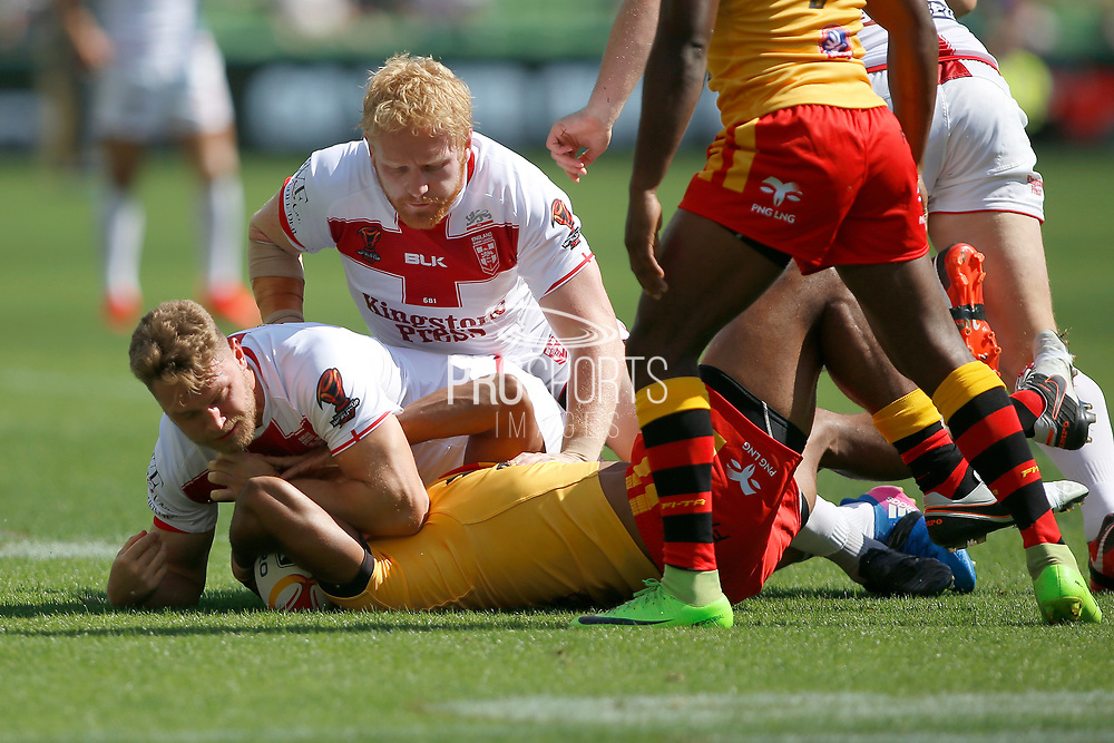 James Graham of England makes a tackle during the Rugby League World Cup Quarter-Final match between England and  Papua New Guinea at Melbourne Rectangular Stadium, Melbourne, Australia on 19 November 2017. Photo by Mark  Witte.