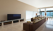 Interior of a modern living room, comfortable divan