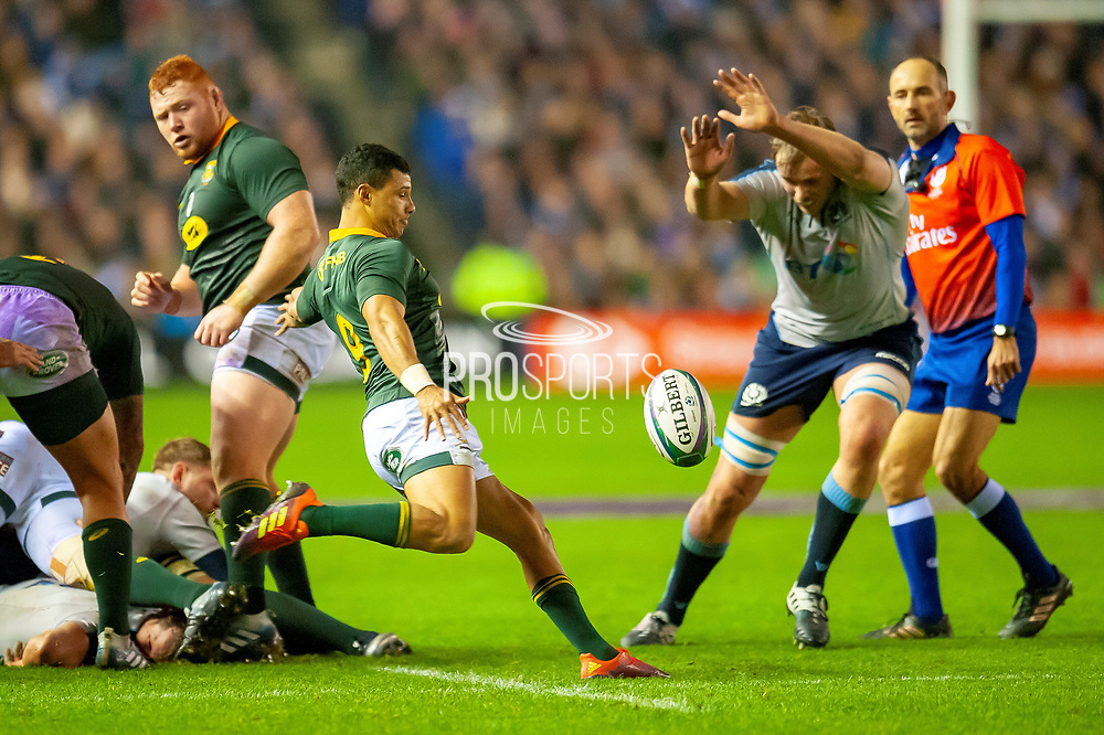 Embrose Papier (#9) (Vodacom Blue Bulls) of South Africa clears the ball as Jonny Gray (#5) (Glasgow Warriors) of Scotland tries to charge down the kick during the Autumn Test match between Scotland and South Africa at the BT Murrayfield Stadium, Edinburgh, Scotland on 17 November 2018.