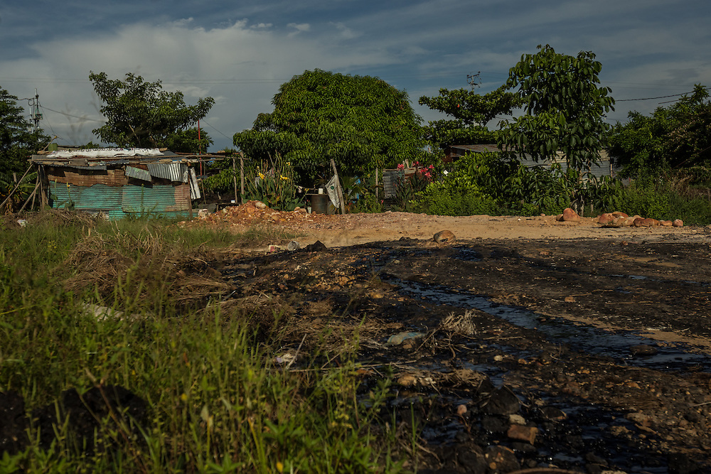 """MENE GRANDE, VENEZUELA - AUGUST 28, 2014: Crude oil seeps from the ground near shacks made of cinder blocks and corrugated metal sheets in the Baralt 1 neighborhood in Mene Grande. 100 years ago, Venezuela's first successful oil well began pumping crude, marking the start of a new era and setting Venezuela on the road from a sleepy backwater of coffee farmers and cattlemen to become one of the world's most petroleum-rich countries. """"Look at the riches of Venezuela,"""" said Ramón Materán, 64, a laborer. """"For all of Venezuela's riches things are pretty neglected here."""""""
