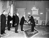 1956 - New German Ambassador Dr Felician Prill, presents his credentials to the President at Ar