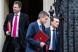 London, UK. 12th February, 2019. Gavin Williamson MP, Secretary of State for Defence, Jeremy Wright QC MP, Secretary of State for Digital, Culture, Media and Sport, and Alun Cairns MP, Secretary of State for Wales, leave 10 Downing Street following a Cabinet meeting.