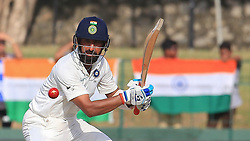 August 3, 2017 - Colombo, Sri Lanka - Indian cricketer Ajinkya Rahane plays a shot during the 1st Day's play in the 2nd Test match between Sri Lanka and India at the SSC international cricket stadium at the capital city of Colombo, Sri Lanka on Thursday 03 August 2017. (Credit Image: © Tharaka Basnayaka/NurPhoto via ZUMA Press)