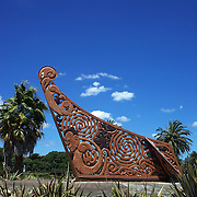 The Waka Sculpture by the bridge at the end of Gladstone Road, Gisborne, New Zealand,, 15th January 2010 Photo Tim Clayton.