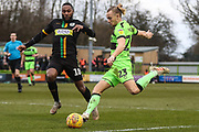 Forest Green Rovers Joseph Mills(23) shoots at goal during the EFL Sky Bet League 2 match between Forest Green Rovers and Yeovil Town at the New Lawn, Forest Green, United Kingdom on 16 February 2019.