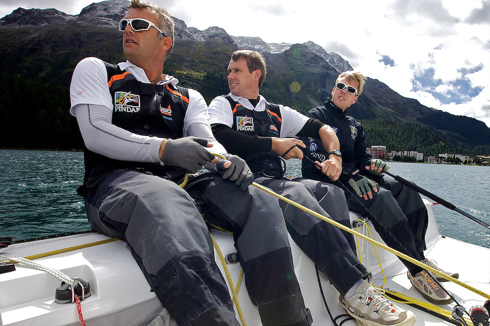 L-R Gerry Mitchell, GBR, Richard Sydenham, GBR, Ian Williams GBR. On board Team GAC Pindar. St Moritz Match Race 2010. World Match Racing Tour. St Moritz, Switzerland. 31st August 2010. Photo: Ian Roman/Subzero Images.