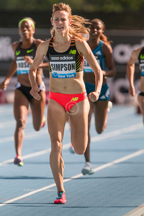 Jenny Simpson in homestretch of women's 1500 meters at adidas Grand Prix Diamond League track and field meet