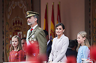 King Felipe VI of Spain, Queen Letizia of Spain, Crown Princess Leonor, Princess Sofia attended the National Day military parade on October 12, 2018 in Madrid, Spain.