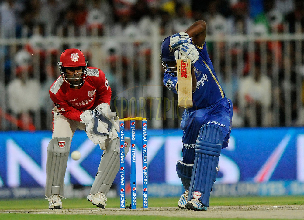 Sanju Samson of the Rajatshan Royals bats during match 7 of the Pepsi Indian Premier League 2014 between the Rajasthan Royals and The Kings XI Punjab held at the Sharjah Cricket Stadium, Sharjah, United Arab Emirates on the 20th April 2014<br /> <br /> Photo by Pal Pillai / IPL / SPORTZPICS
